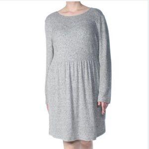 Maison Jules Women's Gray Pleated Fit+ Flare Dress